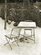 Vlad Baciu Art - Vintage metal chairs covered with snow by Vlad Baciu