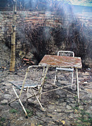 Vlad Baciu Art - Vintage metal chairs in the backyard by Vlad Baciu