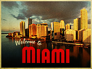 Miami Skyline Metal Prints - Vintage Miami Florida Skyline Metal Print by Vintage Poster Designs