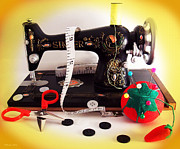 Sewing Supplies Posters - Vintage Mini Sewing Machine Poster by Shawna  Rowe