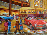 Montreal Storefronts Paintings - Vintage Montreal-st.catherine And Union-couples And Streetcars by Carole Spandau