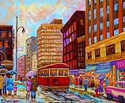 Montreal Storefronts Paintings - Vintage Montreal St.catherine And University With Streetcar by Carole Spandau