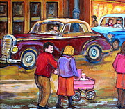 Baby Carriage Paintings - Vintage Montreal Street Scene-couple With Baby Carriage by Carole Spandau