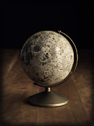 Planet Map Prints - Vintage Moon Globe Print by Edward Fielding