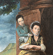 Children Paintings - Vintage Mother and Son by Mary Ellen Anderson