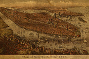 Worn In Framed Prints - Vintage New York City Manhattan NYC in 1875 City Map On Worn Canvas Framed Print by Design Turnpike