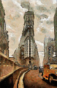 Sity Framed Prints - Vintage New York Framed Print by Georgi Dimitrov