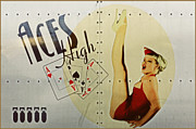 Airplane Metal Prints - Vintage Nose Art Aces High Metal Print by Cinema Photography