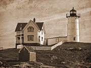 Nubble Lighthouse Framed Prints - Vintage Nubble Lighthouse  Framed Print by David Simpson