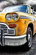 Yellow Cab Framed Prints - Vintage NYC Taxi Framed Print by John Farnan