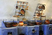 Fire Wood Photos - Vintage Old World Wood  Cooking Kitchen by Linda Phelps