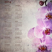 Calendar Metal Prints - Vintage orchid calendar for 2014 Metal Print by Jane Rix