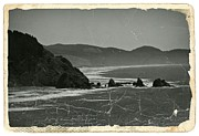 Ocean Images Mixed Media Prints - Vintage Oregon Coast BW 1 Print by Chalet Roome-Rigdon