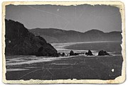 Cards Vintage Mixed Media Posters - Vintage Oregon Coast BW 2 Poster by Chalet Roome-Rigdon