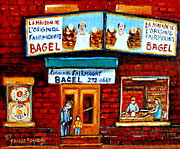 Montreal Store Fronts Posters - Vintage Paintings Of Family Life In Montreal A Visit To Fairmount Bagel Landmark Montreal City Scene Poster by Carole Spandau