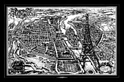 Black And White Paris Mixed Media Posters - Vintage Paris Map with Eiffel Tower Poster by AdSpice Studios
