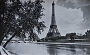Vintage Eiffel Tower Metal Prints - Vintage Paris Metal Print by Nomad Art And  Design