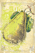 Commercial Mixed Media Posters - Vintage Pear Print Poster by Anahi DeCanio