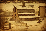 Park Scene Digital Art - Vintage Perry Park Barn by Priscilla Burgers