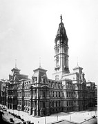 Hall Digital Art Prints - Vintage Philadelphia City Hall Print by Digital Reproductions