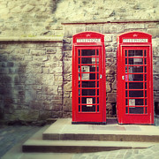 Telephone Posters - Vintage phone boxes Poster by Jane Rix