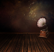 Backdrop Digital Art - Vintage phonograph on Art abstract background by Mythja  Photography