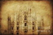 Old Milano Prints - Vintage Photo Of Duomo Di Milano Print by Evgeny Kuklev