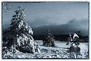 Father Christmas Prints - vintage photo of Santa Claus and winter landscape Print by Christian Lagereek