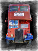 Mass Transit Framed Prints - Vintage Picadilly Bus Framed Print by Daniel Hagerman