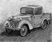 Restoration Drawings - Vintage Pick Up Truck American Bantam by Kate Sumners