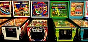 Games Room Framed Prints - Vintage Pinball Panorama Framed Print by Benjamin Yeager