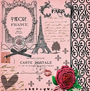 Shabbychic Posters - Vintage Pink Paris Collage Poster by Li Or