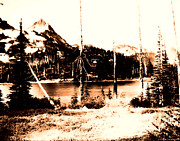 Eddie Eastwood Framed Prints - Vintage Pinnacle Peak and Paradise Lake early 1900 era... Framed Print by Eddie Eastwood