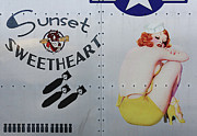 Vintage Pinup Nose Art Sunset Sweetheart Print by Cinema Photography
