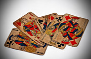 Playing Cards Posters - Vintage Playing Cards Poster by Valerie Garner