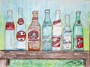 Pepsi Painting Posters - Vintage Pop Bottles Poster by Kathy Marrs Chandler