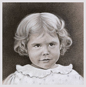 Little Girl Drawings Prints - Vintage Portrait Print by Natasha Denger