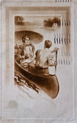 Canoe Digital Art - Vintage Post Card of Couple in Boat by Valerie Garner
