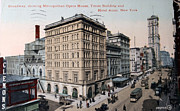 Patricia Hofmeester Metal Prints - Vintage postcard of Broadway Metal Print by Patricia Hofmeester