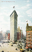 Patricia Hofmeester Metal Prints - Vintage postcard of Flatiron building in New York Metal Print by Patricia Hofmeester