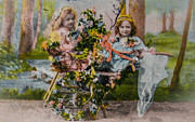 Old Fashion Colors Prints - Vintage postcard of two small girls and flowers Print by Patricia Hofmeester