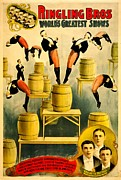 Entertaining Metal Prints - Vintage Poster - Circus - Ringling Bros Metal Print by Benjamin Yeager