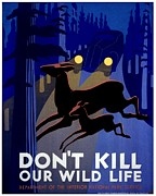 Driving Life Framed Prints - Vintage Poster - Dont Kill Our Wild Life Framed Print by Benjamin Yeager
