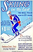 Skiing Poster Framed Prints - Vintage Poster - Sports - Skiing Framed Print by Benjamin Yeager