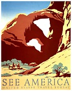 Road Trip Framed Prints - Vintage Poster - Arches National Park Framed Print by Benjamin Yeager