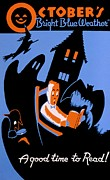Haunted House Prints - Vintage Poster - Reading - October Print by Benjamin Yeager