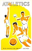 Basketball Sports Prints - Vintage Poster - WPA - Athletics 1 Print by Benjamin Yeager
