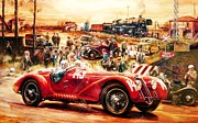 Racer Painting Framed Prints - Vintage Racing Scene Framed Print by Pg Reproductions