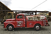 Old Photos Digital Art Framed Prints - Vintage Red Chevrolet Truck Framed Print by Sanely Great