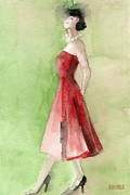 Inspired Painting Posters - Vintage Red Cocktail Dress Fashion Illustration Art Print Poster by Beverly Brown Prints